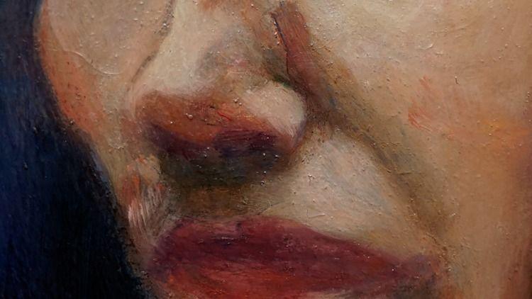Detail portrait, oil wood panel - seehall | ello