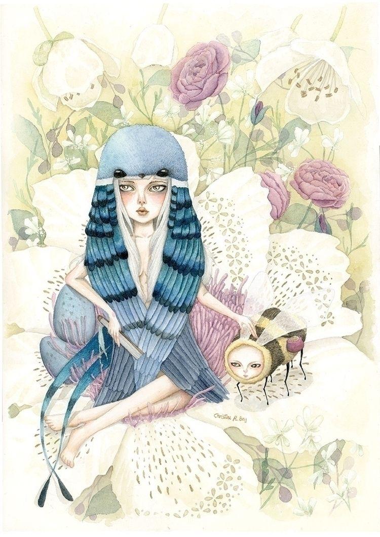 Blue Swallow, watercolor Arches - christinerbay | ello