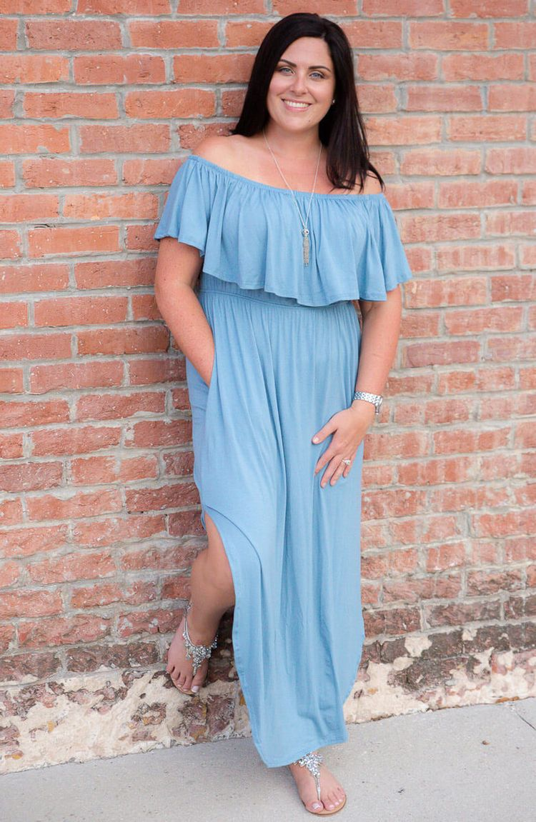 DIVINE MAXI DRESS- BLUE Color B - redtulipboutique   ello