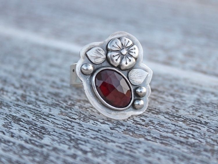 home! garnet ring sterling fine - riverandbirch | ello