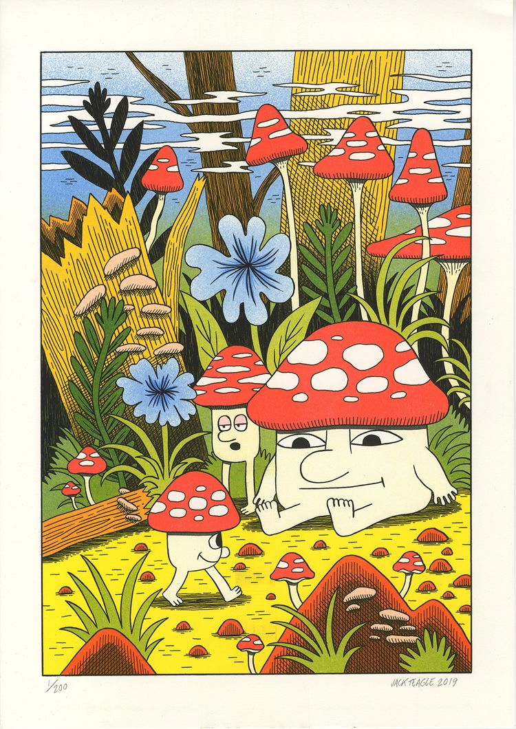 Mushroom World - A3, 4 colour r - jackteagle | ello