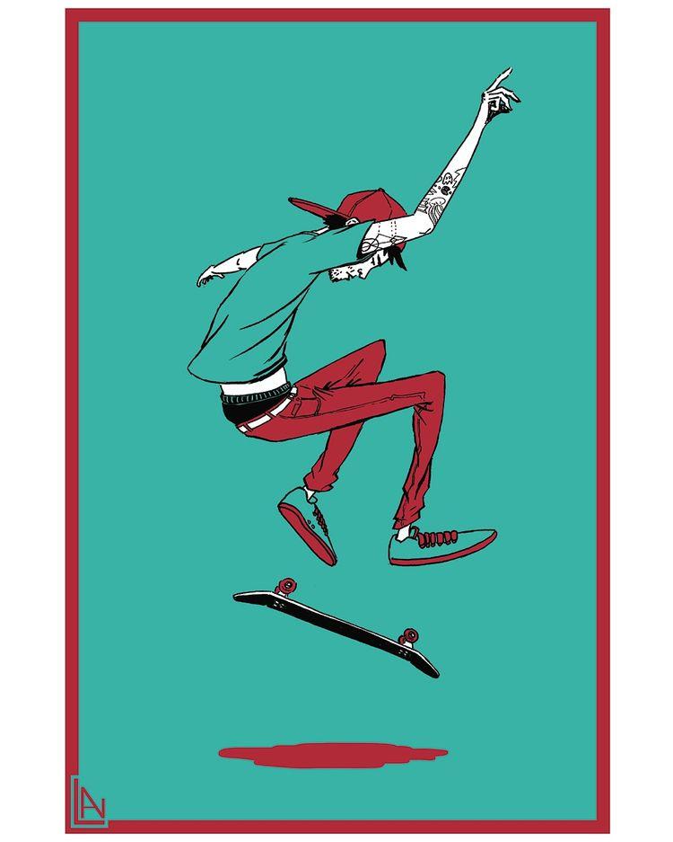 Number - 4, illustration, skateboard - lnam | ello