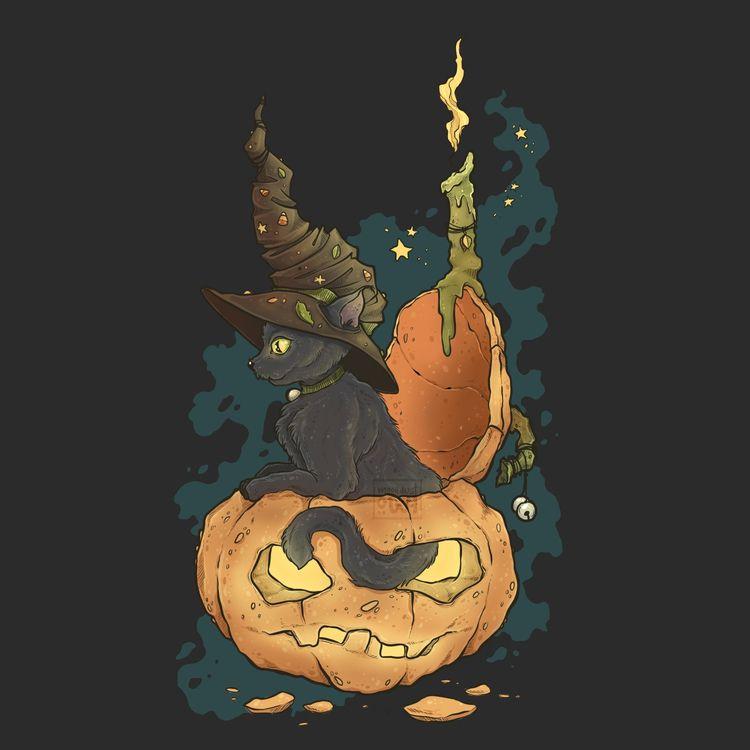 Pumpkitten - cute pre-halloween - moondustowl | ello