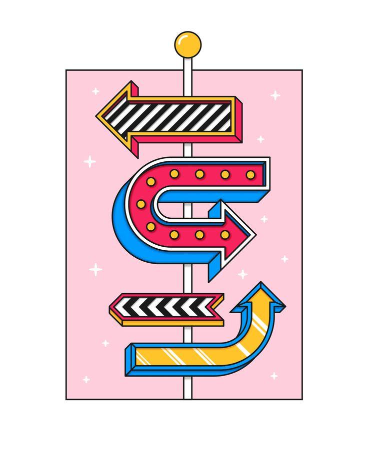 Signpost - illustration, colourful - alexfoxley | ello