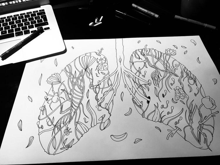 Lungs •  - illustration, art, drawing - freshmilkart | ello