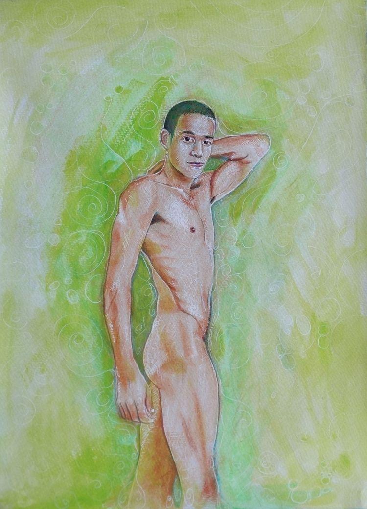Male Nude 20 Acrylic Paper 29 c - loic-le-phoque-fringant | ello