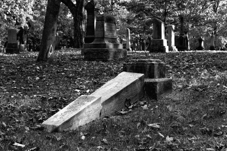 Fallen Headstone: stroll cemete - dabpix | ello