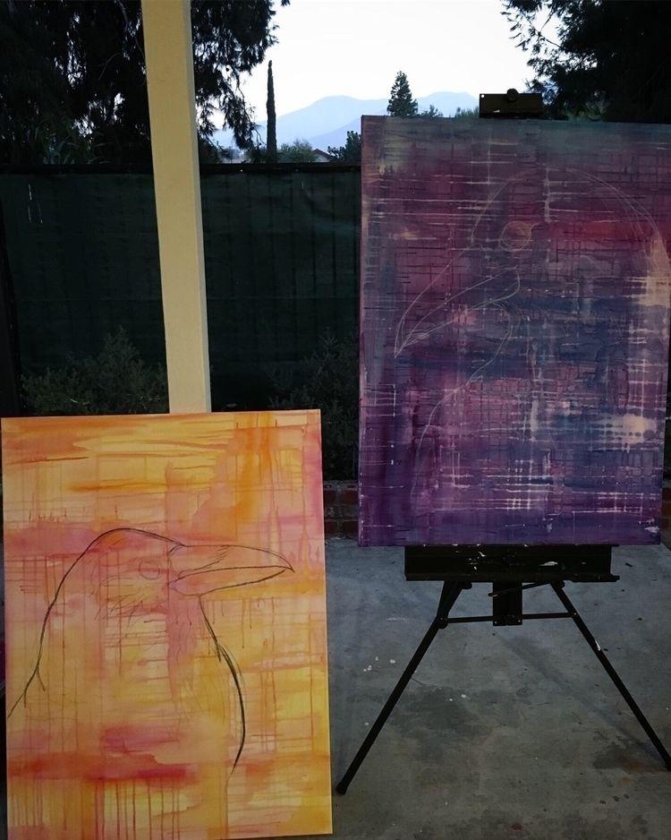 Raven Pair - WIP, ravens, acrylicpainting - akcarastudio | ello