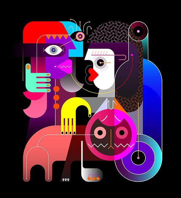 women cat - modernart, illustration - danjazzia | ello