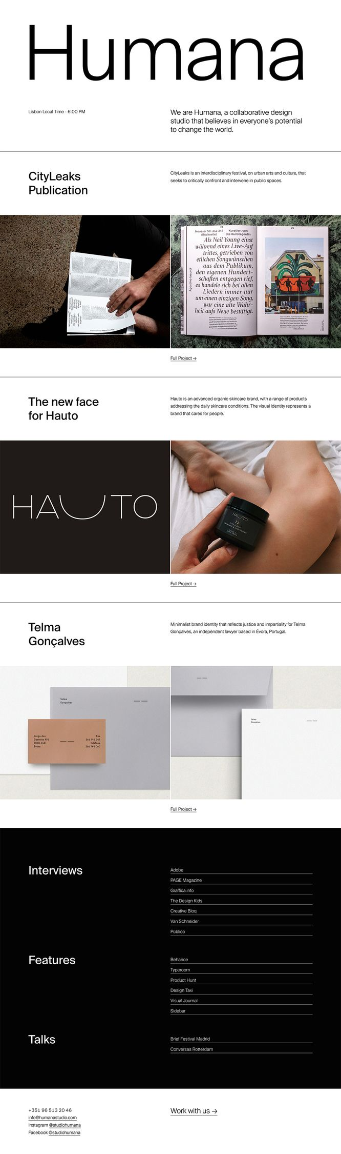 finally online! Brand website → - humanastudio | ello