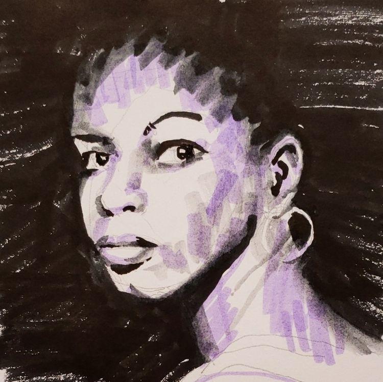 Nina Simone, misc. brush pens - drawingaday - peninasharon | ello