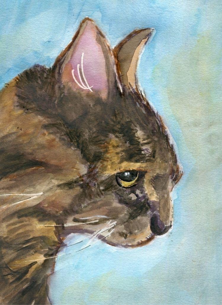 petportrait, cat, watercolor - gravesart | ello