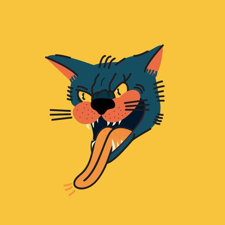 pussy cat - kitty, illustration - dominikkalita | ello