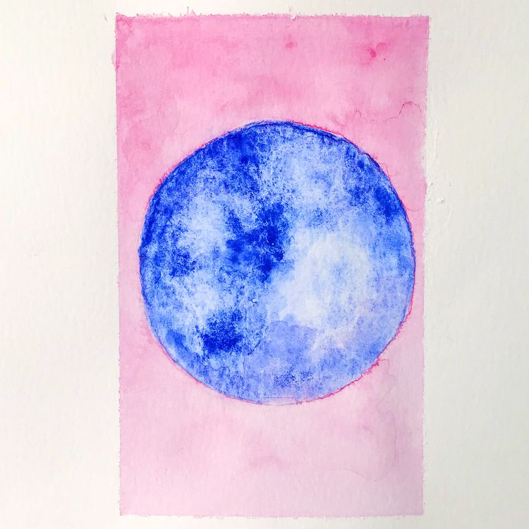 Full Moon Watercolor Painting - watercolor - nicartdaily | ello