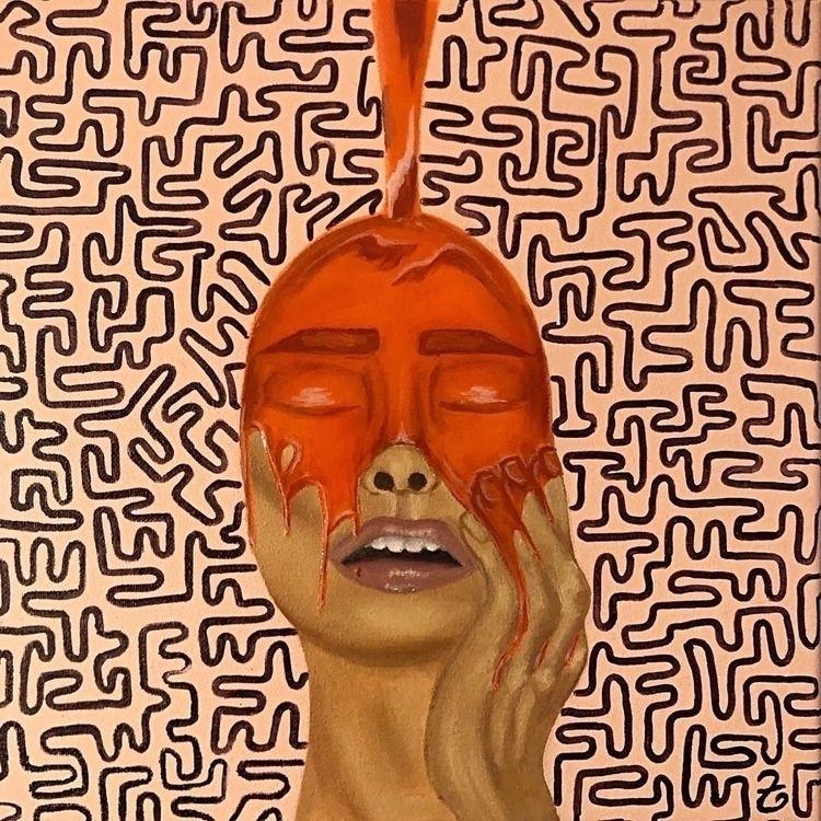 Mini Orange Drip Face 🧡 1of6 - painting - createdbytia | ello