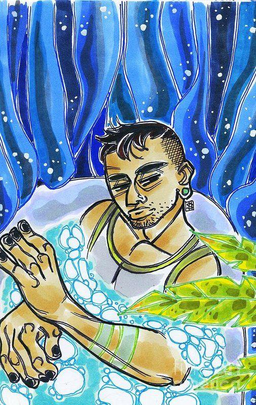 Artwork: Night Bath!! Original  - shedges   ello