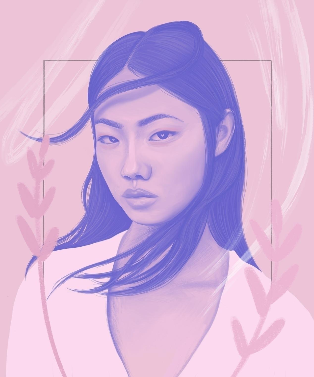 illustration - pink, portrait - polilovi   ello