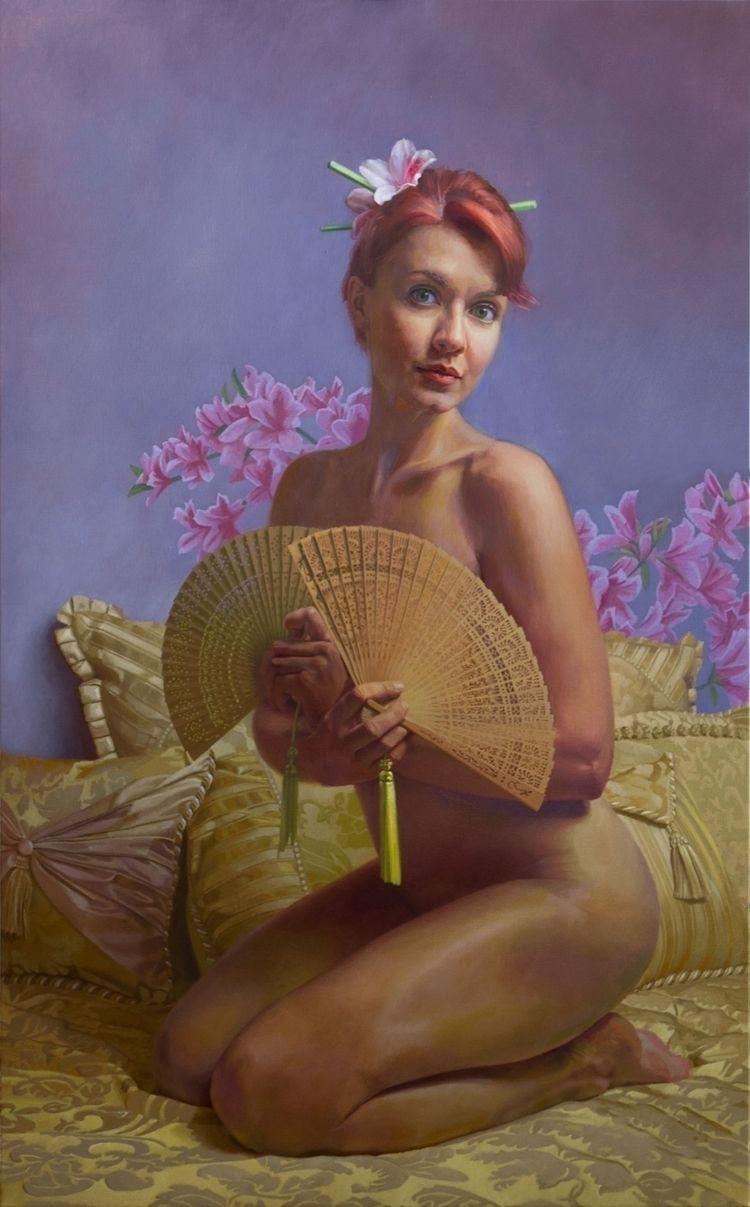 Art Fan, Portrait Young Woman,  - mikebrewerart | ello
