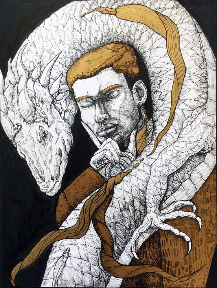 Dragon Talisman Ink Golden Acry - nicglorieux_illustration   ello