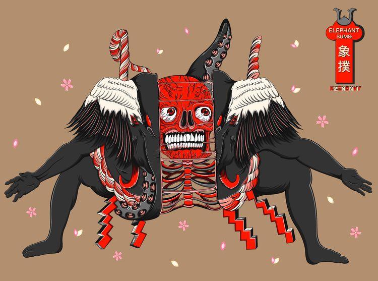Sumo Elephant series-skull - kzengjiang - kzengjiang | ello