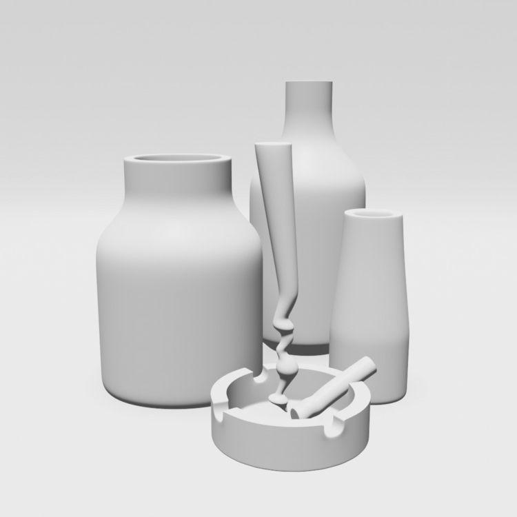 Composition 1 - 3d, shapes, ceramic - pavelpopov | ello