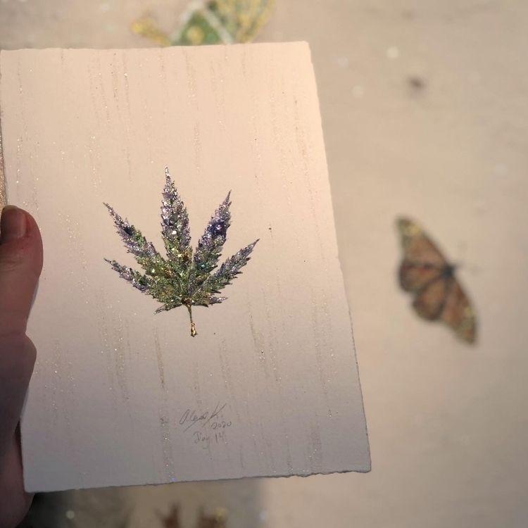 marijuana, leaf, natureart, painting - alexakarabin   ello