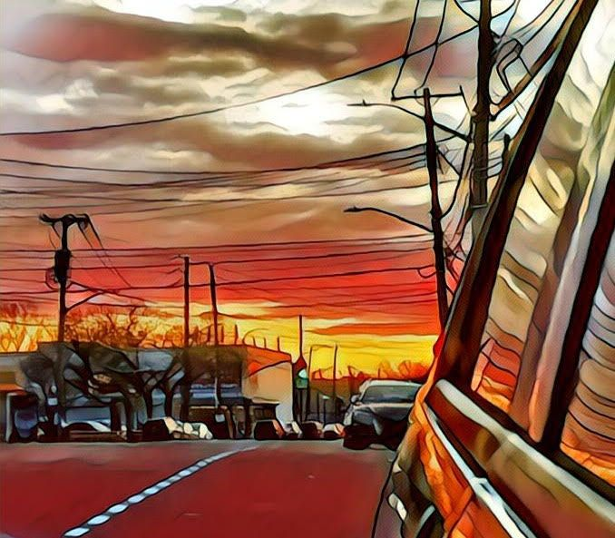 sunset rear view mirror Art wor - banubianlife | ello