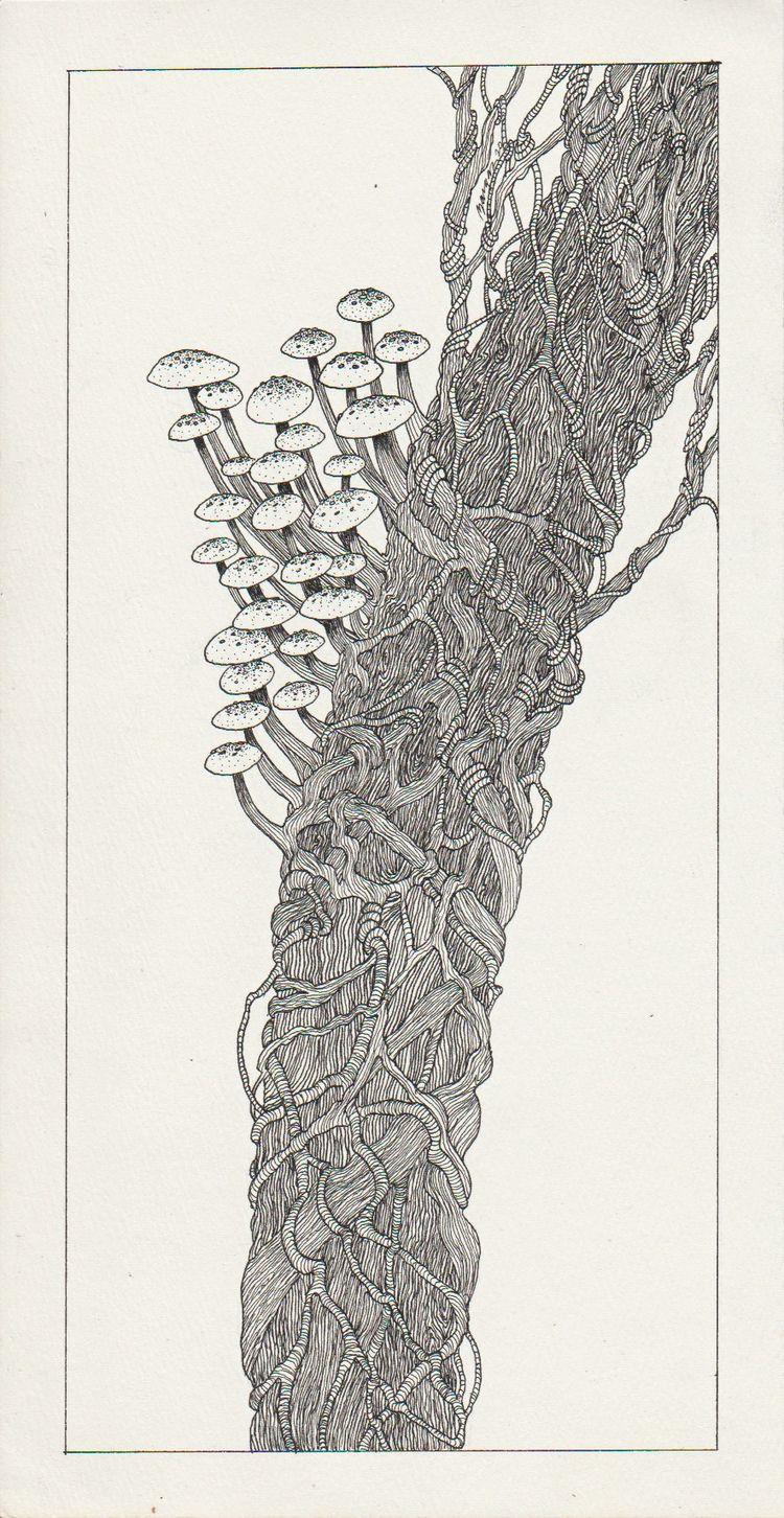 Fungi Tree Pen Ink 6'' 11.5 - jymmm3   ello