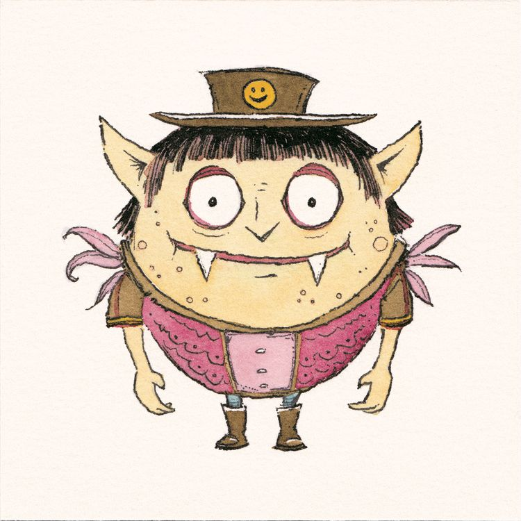 Happy Brown Hat - watercolor, drawing - junkyardsam | ello