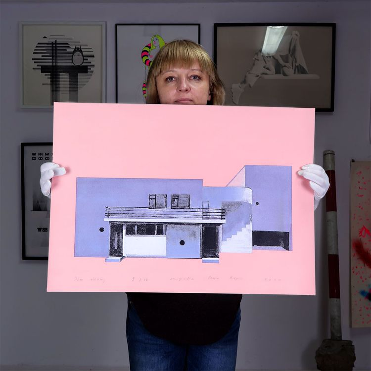 Maria serigraphy Pink House con - graphicsflowershop | ello