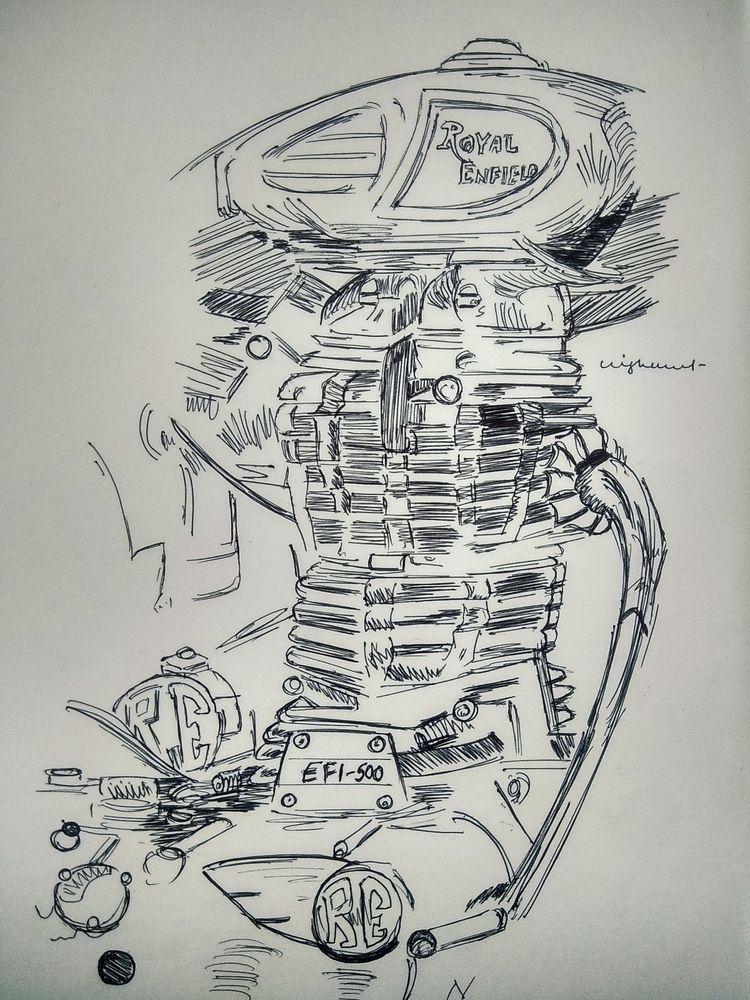 Rapid Sketch 01 . ink - RoyalEnfield - nisoojadhav   ello