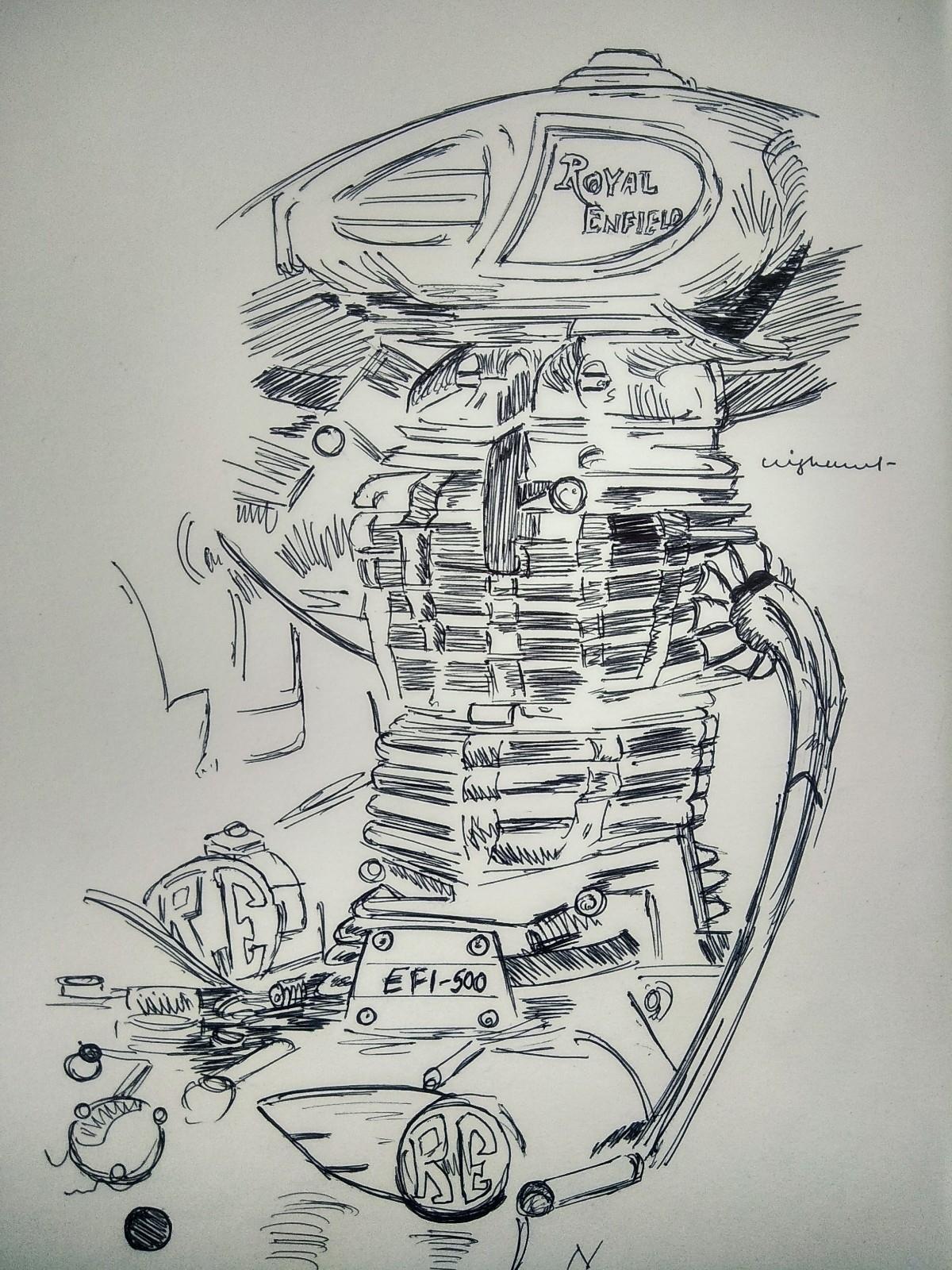 Rapid Sketch 01 . ink - RoyalEnfield - nisoojadhav | ello