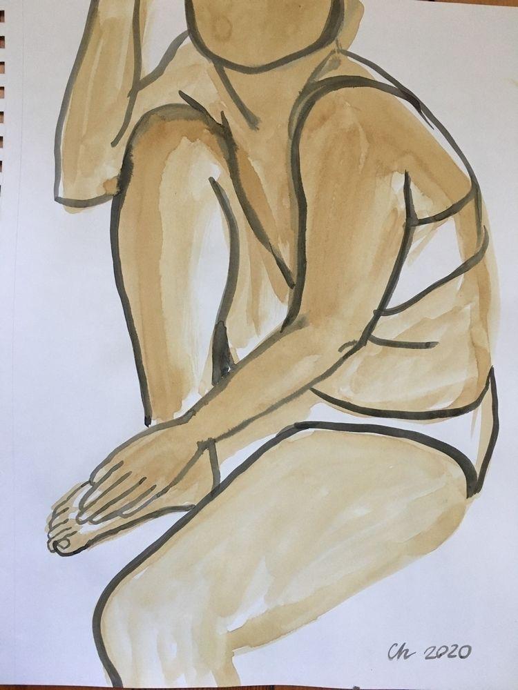 Nude, ink paper - sketch#figuredrawing#figurative#art#nude#model - chulanova   ello
