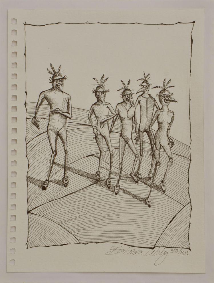 Bird People Running, 2019 (pen  - blibbysteinmann | ello