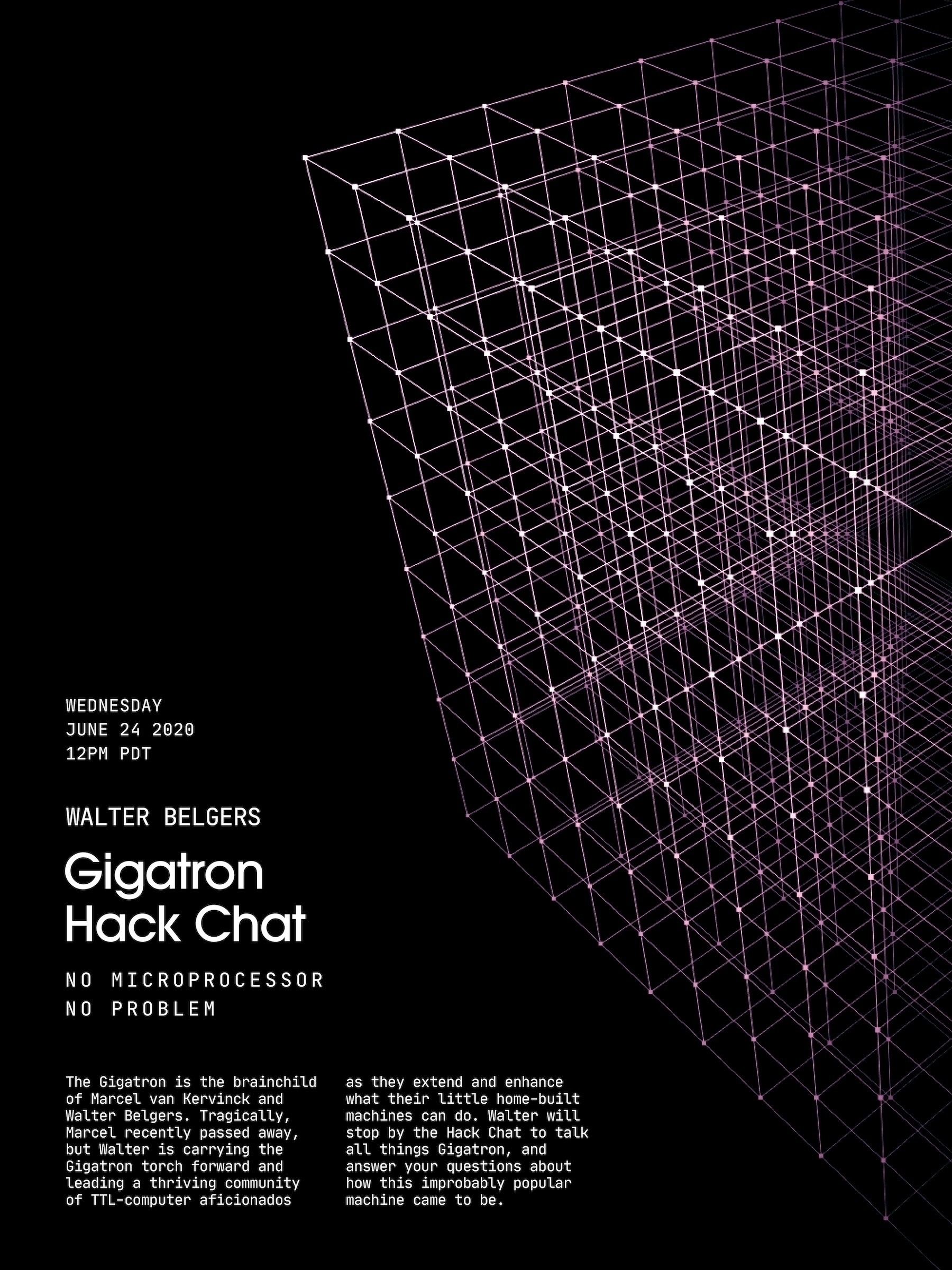 Gigatron HackChat - poster, design - randomwalks | ello