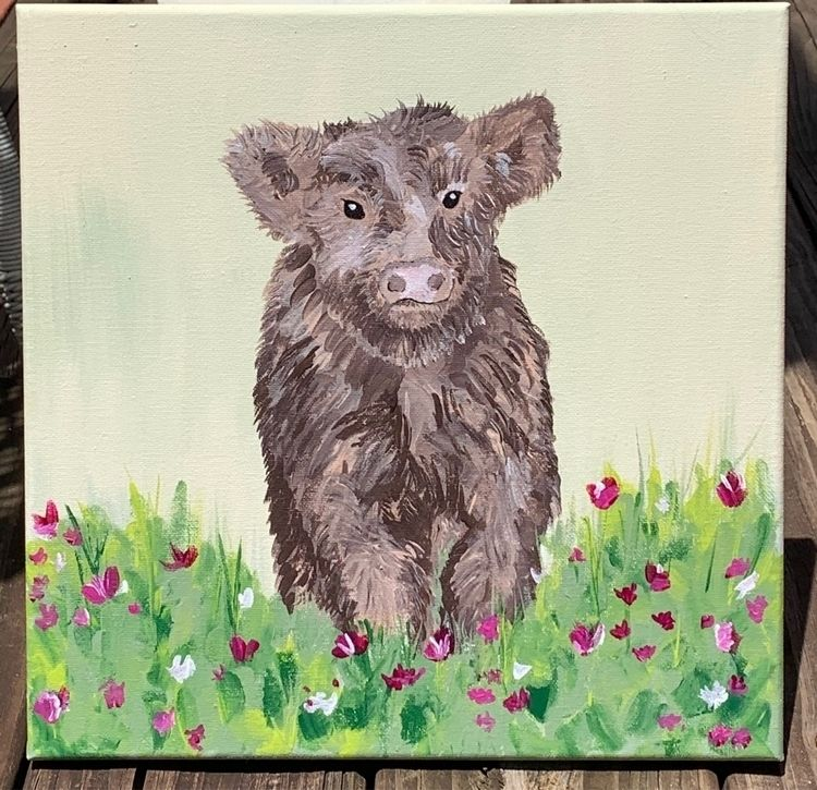 fluffy! flowers - acrylic, canvas - jonnajaye | ello