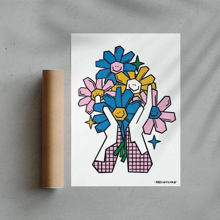 Les mains fleuries, print IG - illustration - paolinoshka | ello