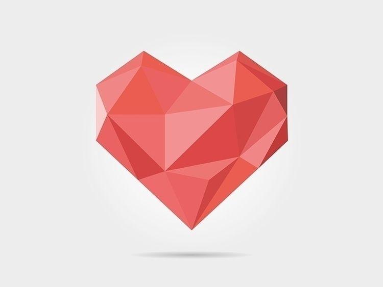 Polygonal Heart - art, geometric - dmitrykovalev   ello