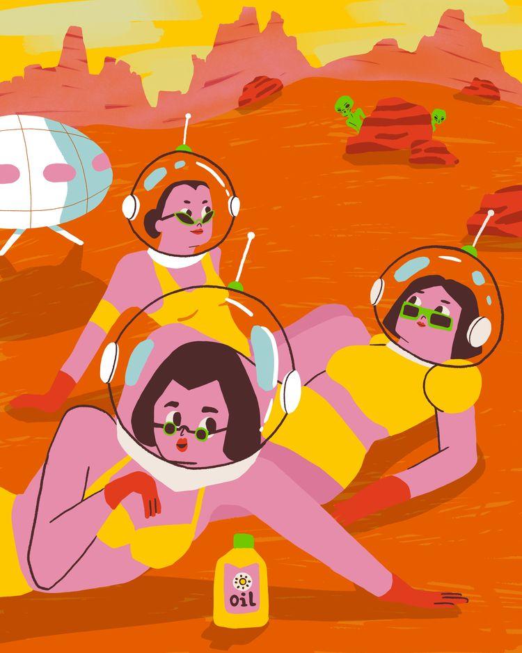 Sunbathing mars - characterdesign - jandastudio | ello