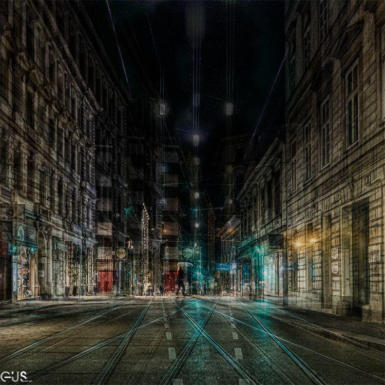 Lady Niht Streets Vienna, visio - gusfineart | ello