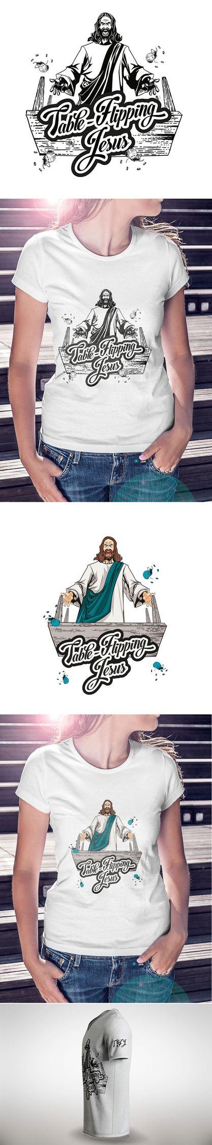 Table flipping Jesus - design w - think73   ello