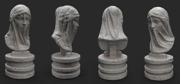 Marble bust Veiled Virgin Mary  - alexpoint | ello