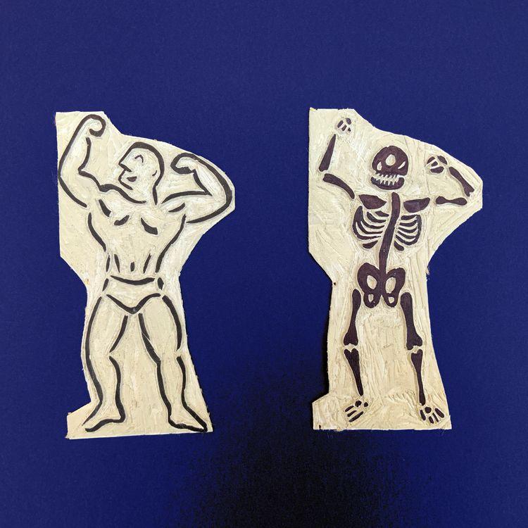 Bodybuilder / Skeleton Linocut  - marcribera | ello