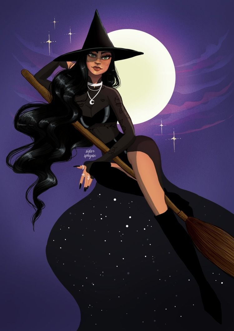 Moonlit witch - illustration#witch#halloween - sister_sphynx | ello