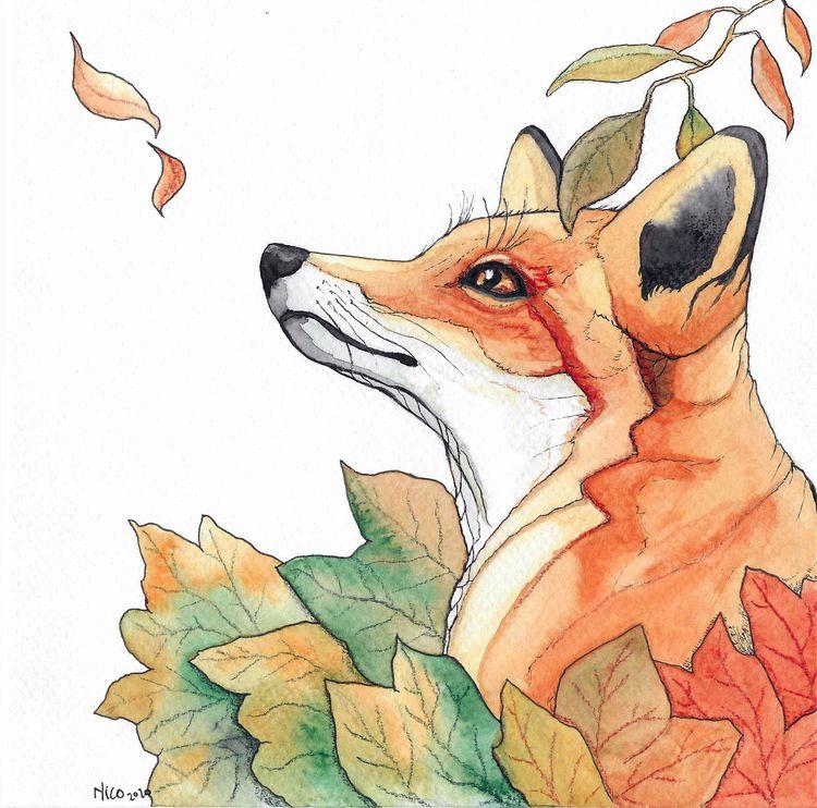 Fox fall Ink watercolor - illustration - nicglorieux_illustration   ello