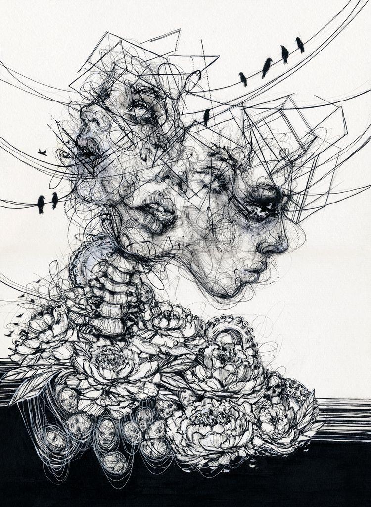 Life - art, inkdrawing, portrait - ibreathart | ello