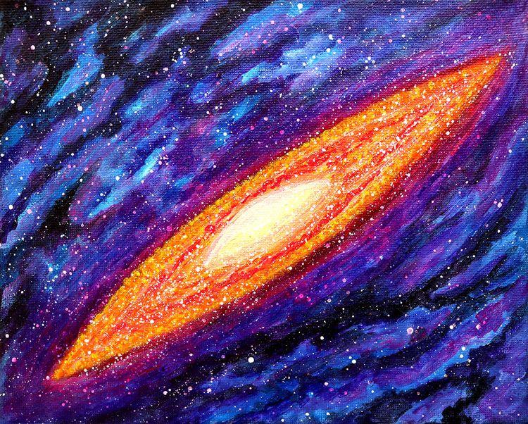 Glowing Galaxy ~ Acrylic Canvas - leomysticmagic | ello