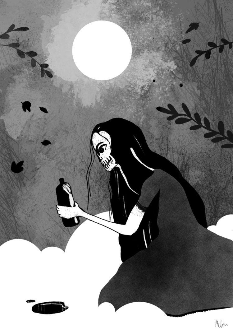 death, 2d, illustration, blackandwhite - asylum_of_spirits | ello