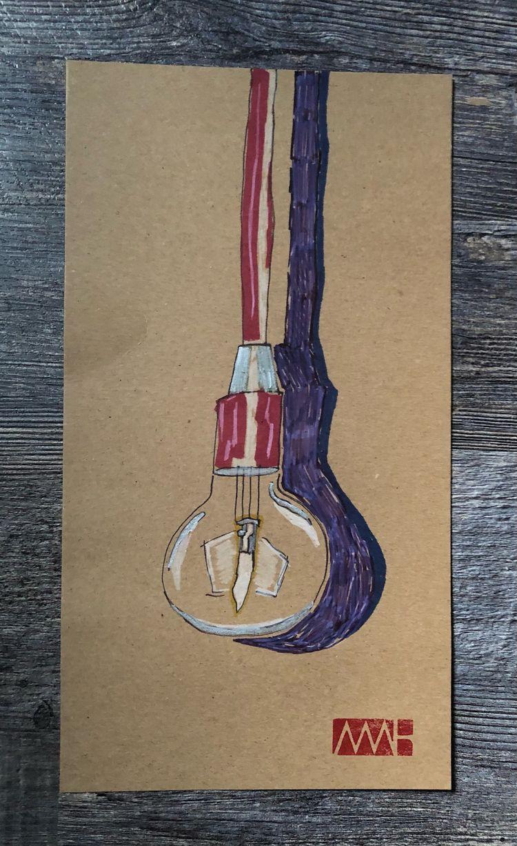 Lightbulb - 2020 Pen Ink 7 13 - myleshuntart | ello