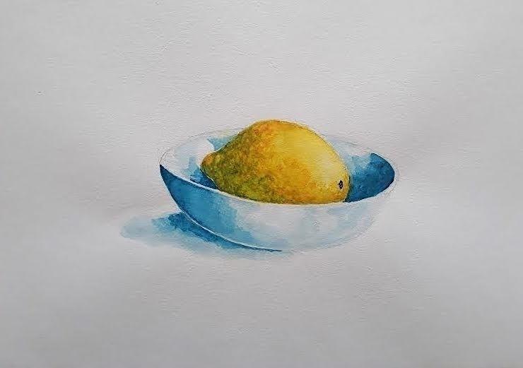 Lemon Bowl Watercolour 20 30cm  - burningbuddha | ello